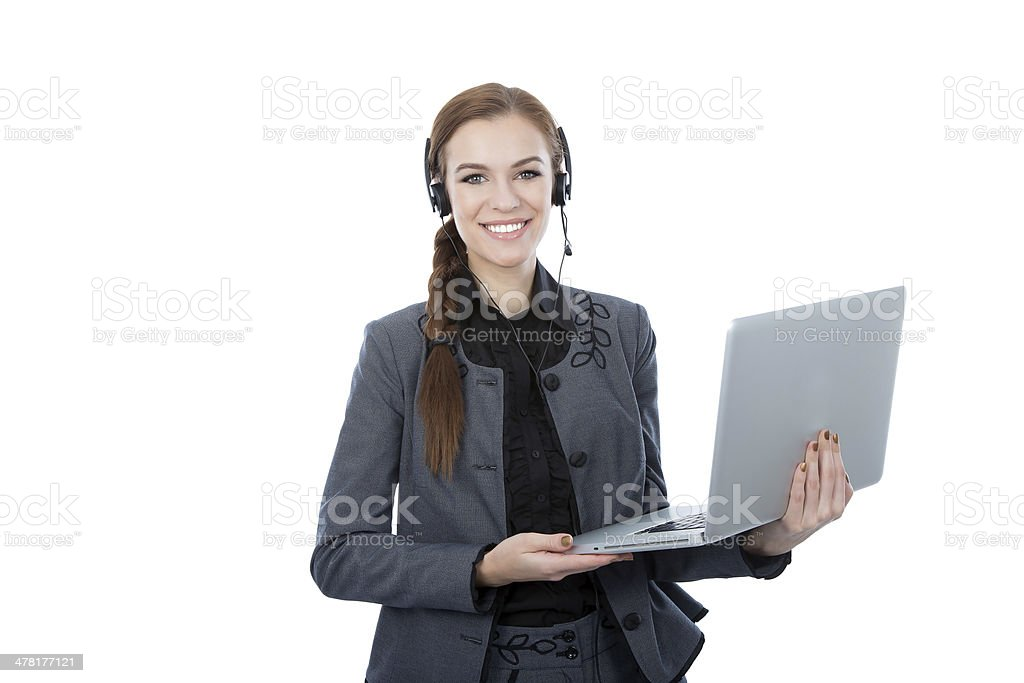 Portrait of a beautiful service customer worker holding her laptop royalty-free stock photo