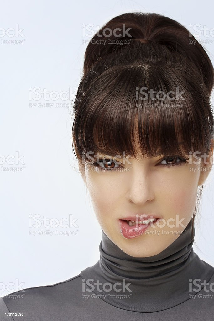 Portrait of a beautiful, sexy brunette girl . royalty-free stock photo