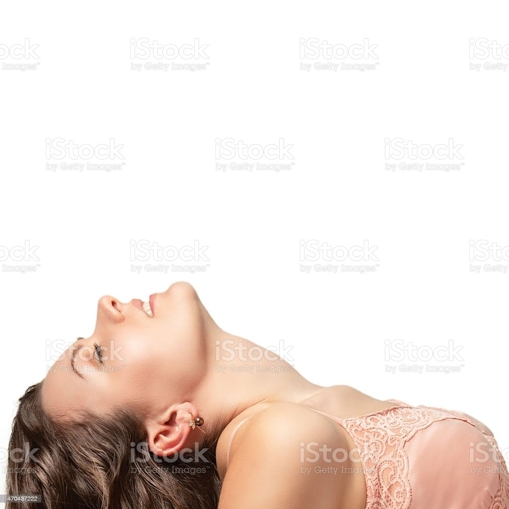 Portrait of a beautiful sexy young woman on a white background. stock photo