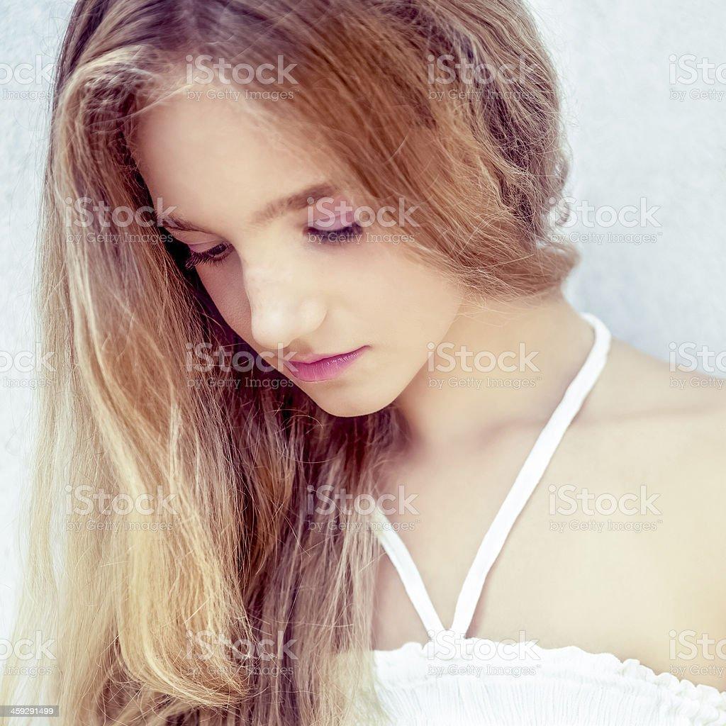 portrait of a beautiful teen girl stock photo