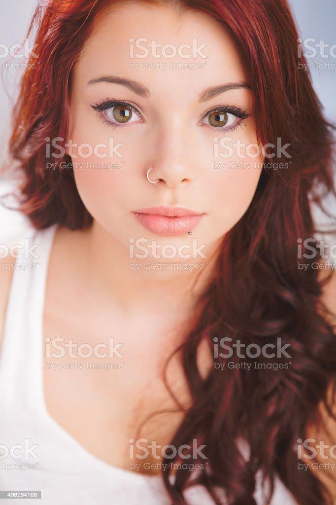 Portrait of a beautiful teenage girl stock photo