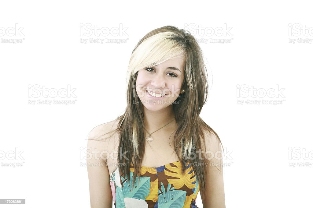 Portrait of a beautiful teenager girl with long  hairs royalty-free stock photo