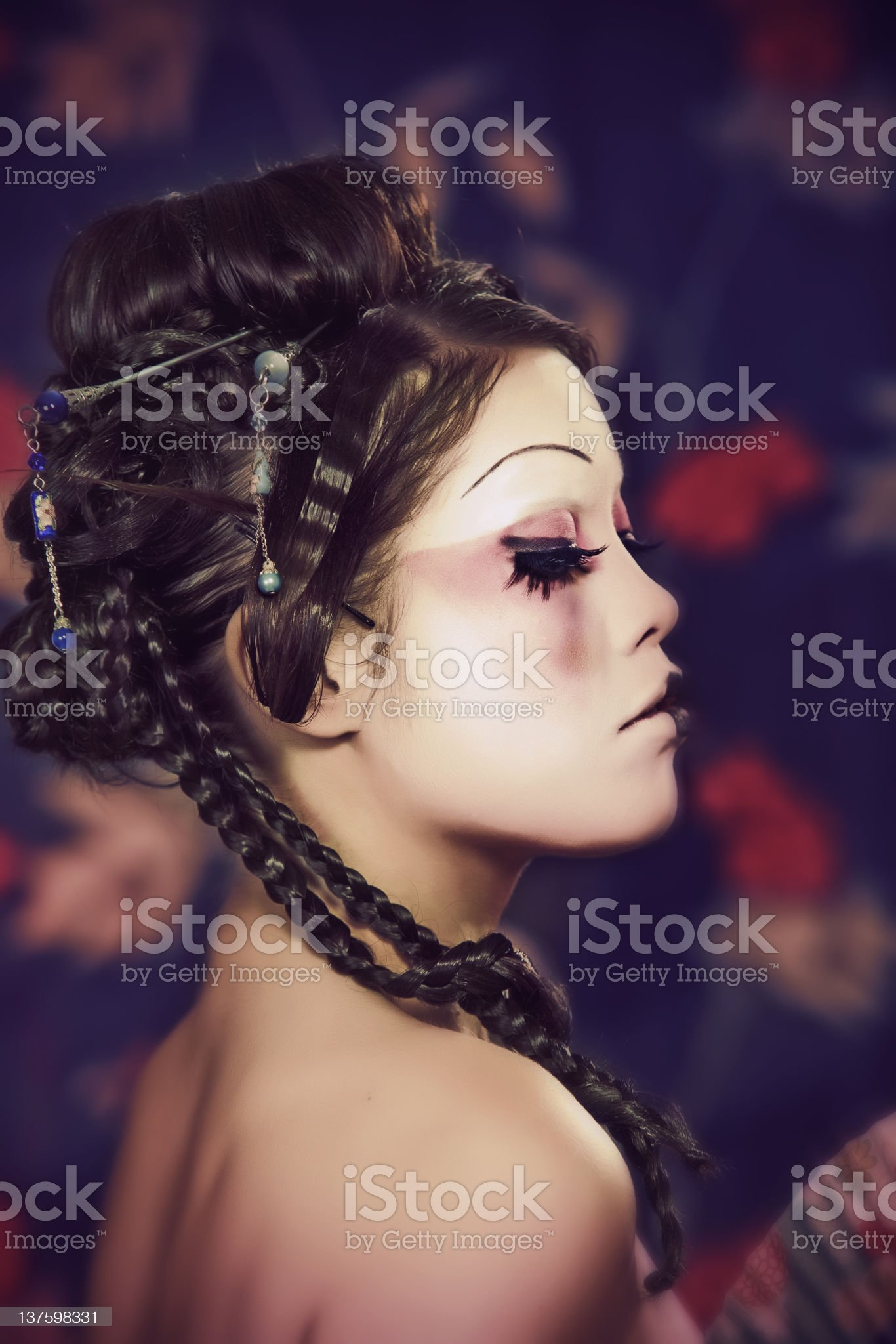 portrait of a beautiful white girl in geisha style royalty-free stock photo