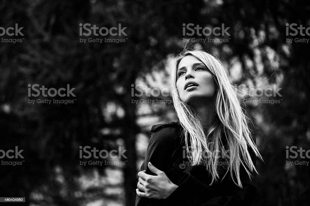 Portrait of a beautiful woman at the street stock photo