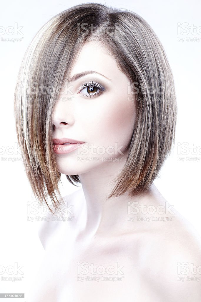 portrait of a beautiful woman in short blond bob stock photo