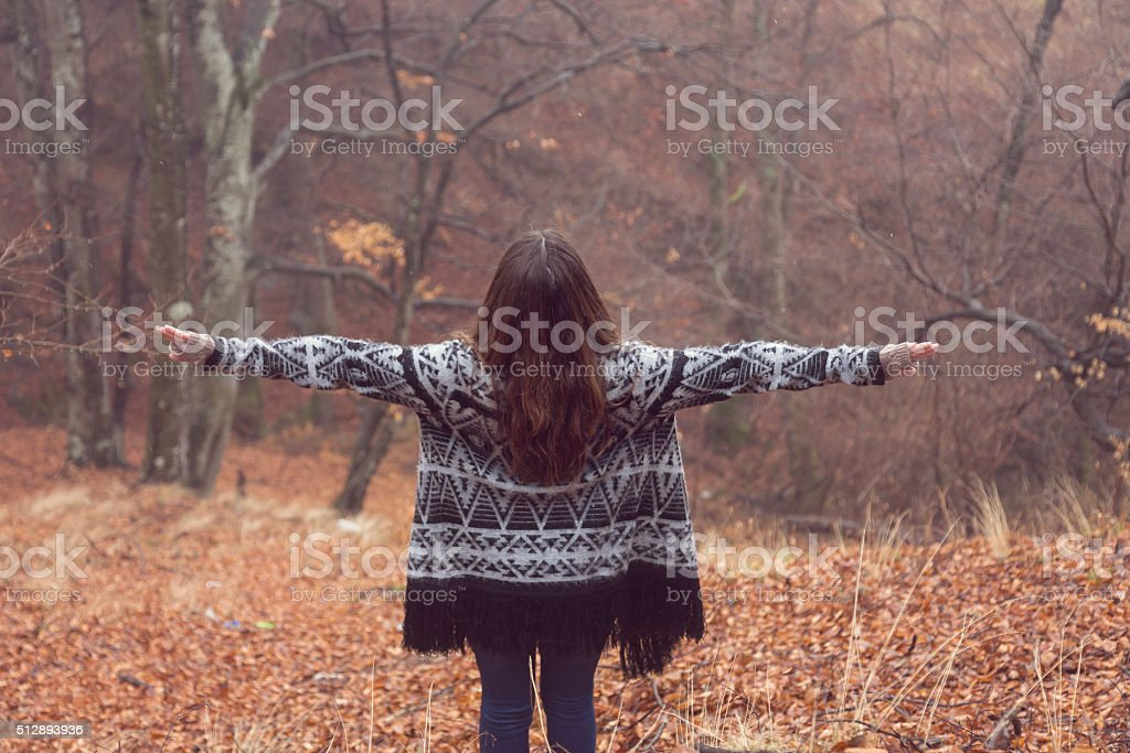 Portrait of a beautiful woman in the forest stock photo