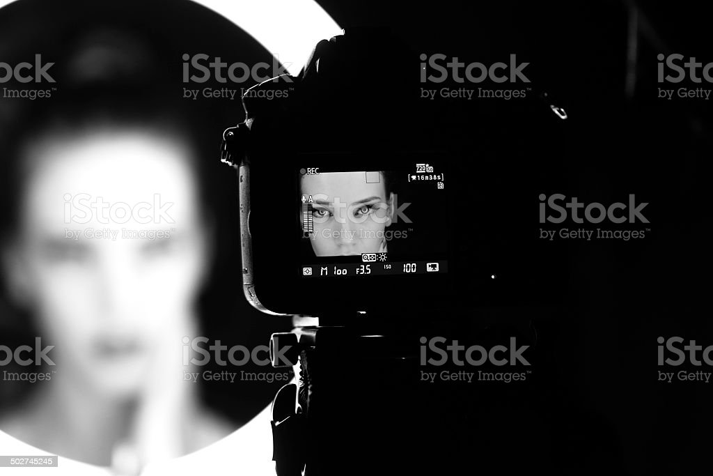 Portrait of a beautiful woman in the studio, backstage stock photo