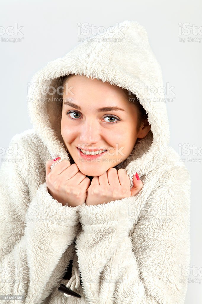 Portrait of a beautiful woman in winter coat royalty-free stock photo