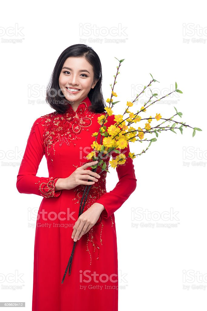 Portrait of a beautiful woman on traditional festival costume stock photo