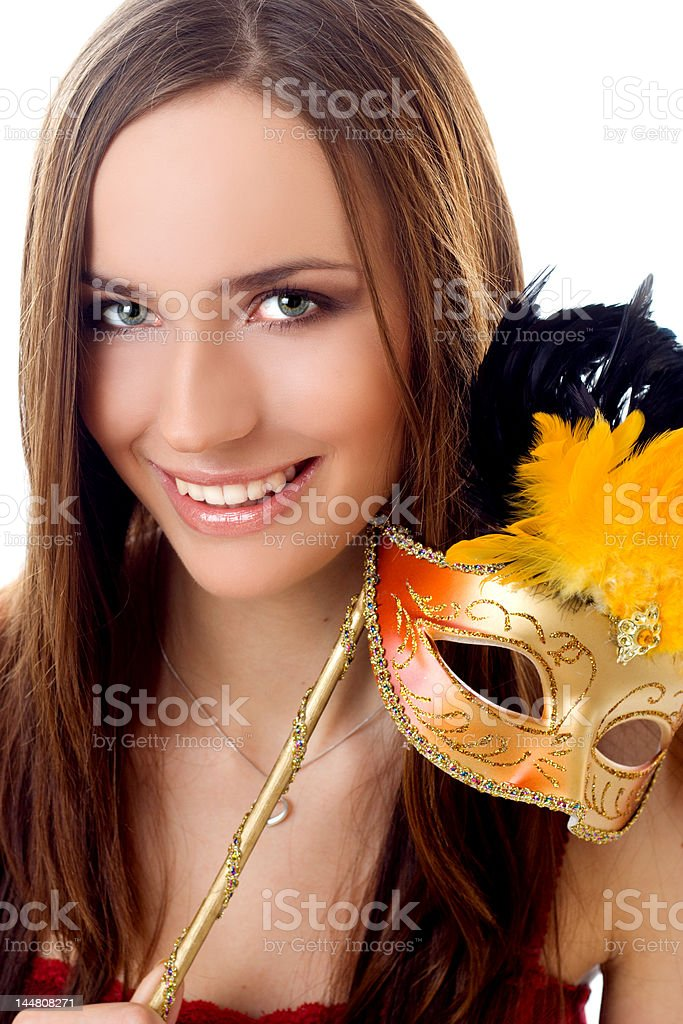 Portrait of a beautiful woman with carniwal mask royalty-free stock photo