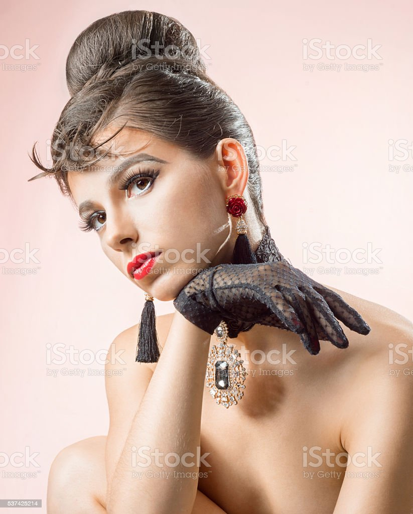 Portrait of a beautiful woman with hairstyle stock photo