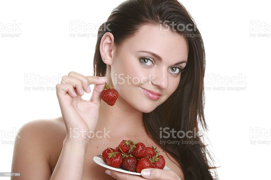 Portrait of a beautiful woman with strawberry royalty-free stock photo