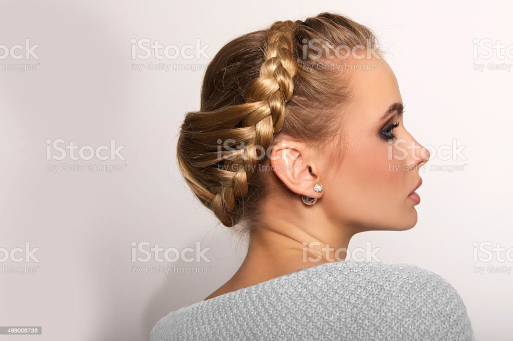 portrait of a beautiful young blonde woman stock photo