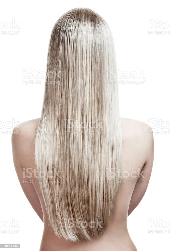 portrait of a beautiful young blonde woman with wonderful hair stock photo