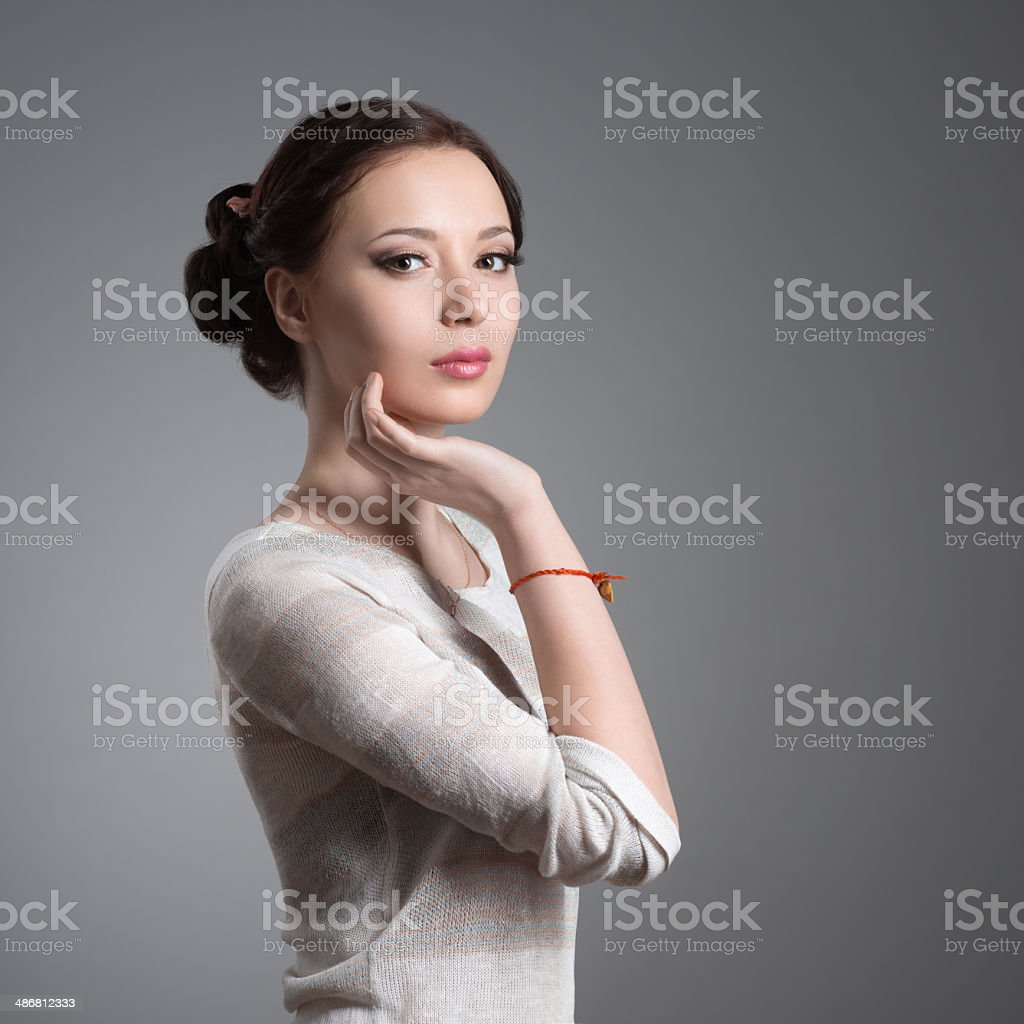 portrait of a beautiful young brunette stock photo