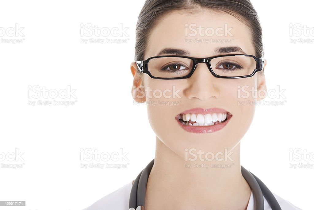 Portrait of a beautiful young doctor woman. stock photo