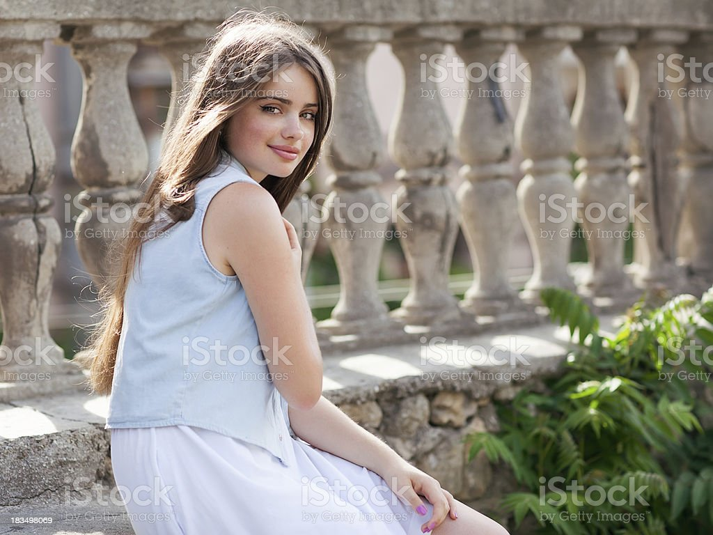 Portrait of a beautiful young girl looking at the camera. royalty-free stock photo