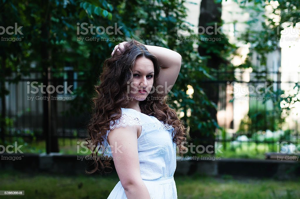 Portrait of a beautiful young girl of 20 years stock photo
