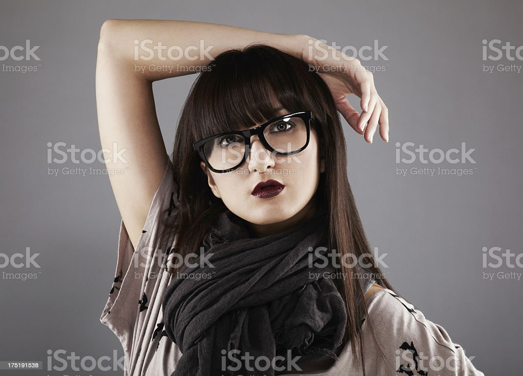 Portrait of a beautiful young japanese woman wearing glasses royalty-free stock photo