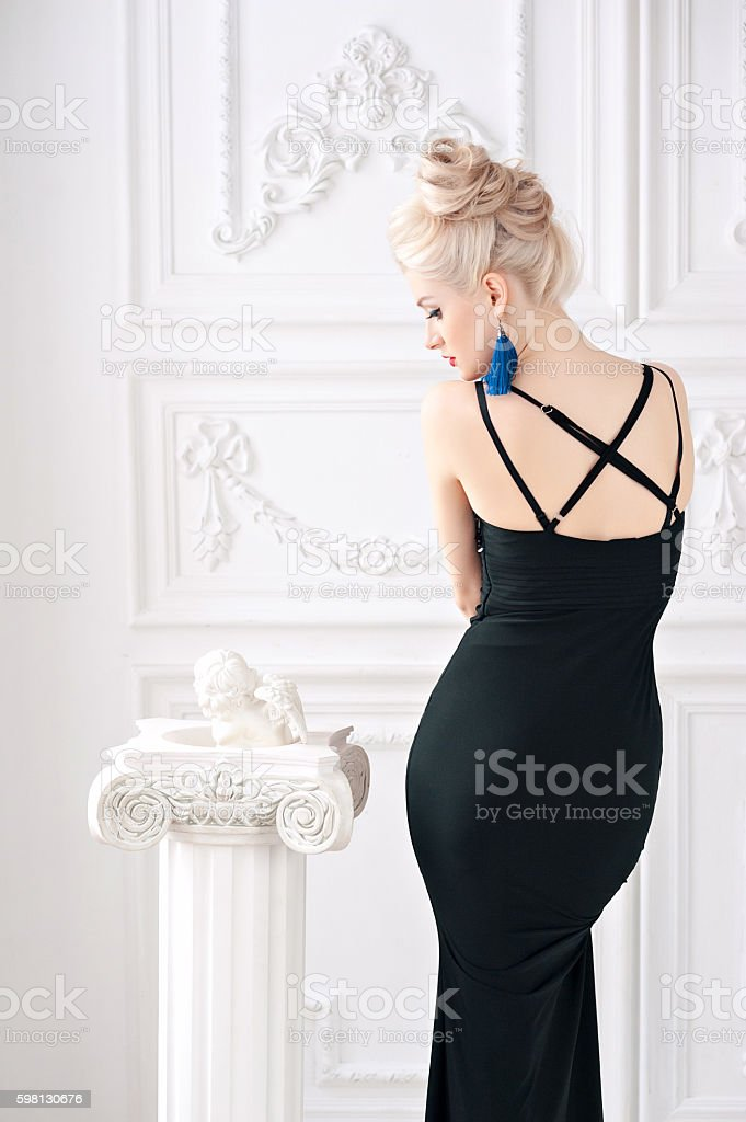 Portrait of a beautiful young sexy blond woman with  gentle stock photo