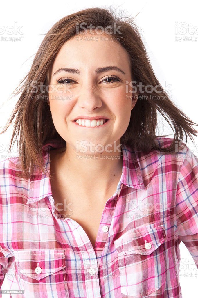 portrait of a beautiful young short haired woman stock photo