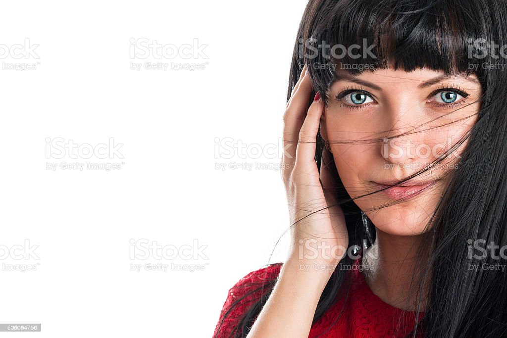Portrait of a beautiful young smiling woman stock photo