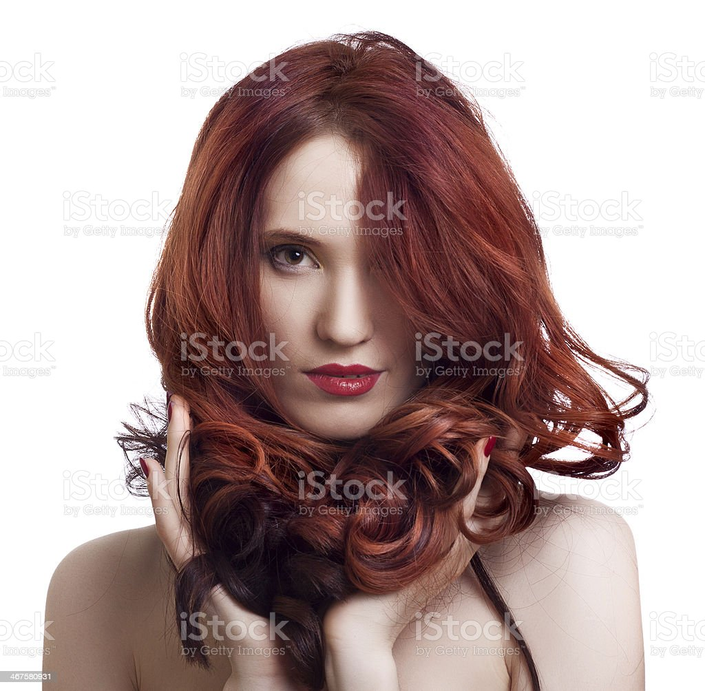portrait of a beautiful young woman with bright makeup stock photo