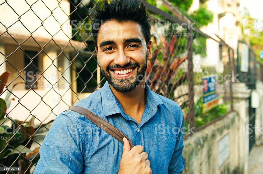 Portrait of a beautifull smiling man stock photo
