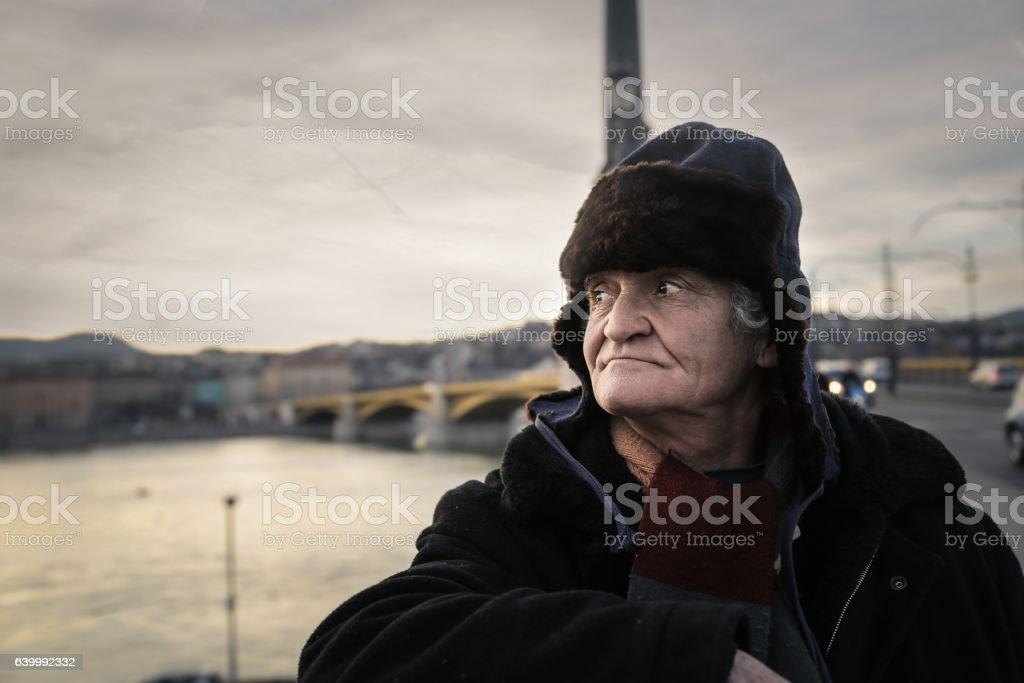 Portrait of a begger stock photo