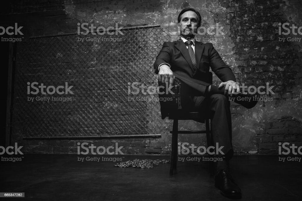 Portrait of a big mafia boss stock photo