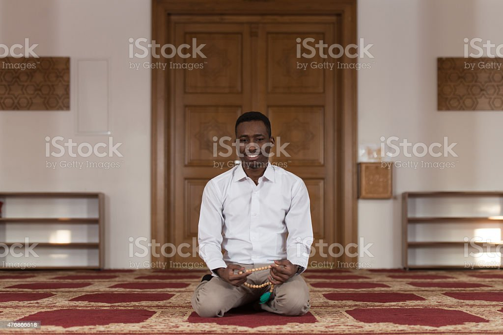 Portrait Of A Black African Man In Mosque stock photo