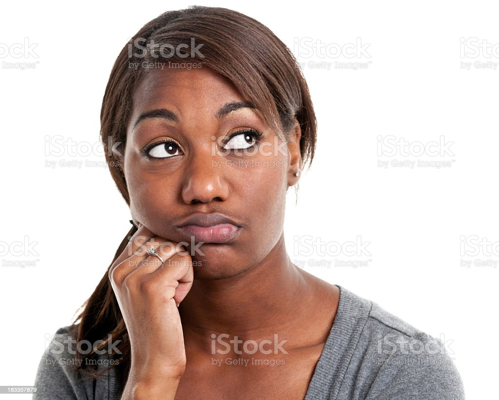 Portrait of a bored looking woman looking away stock photo
