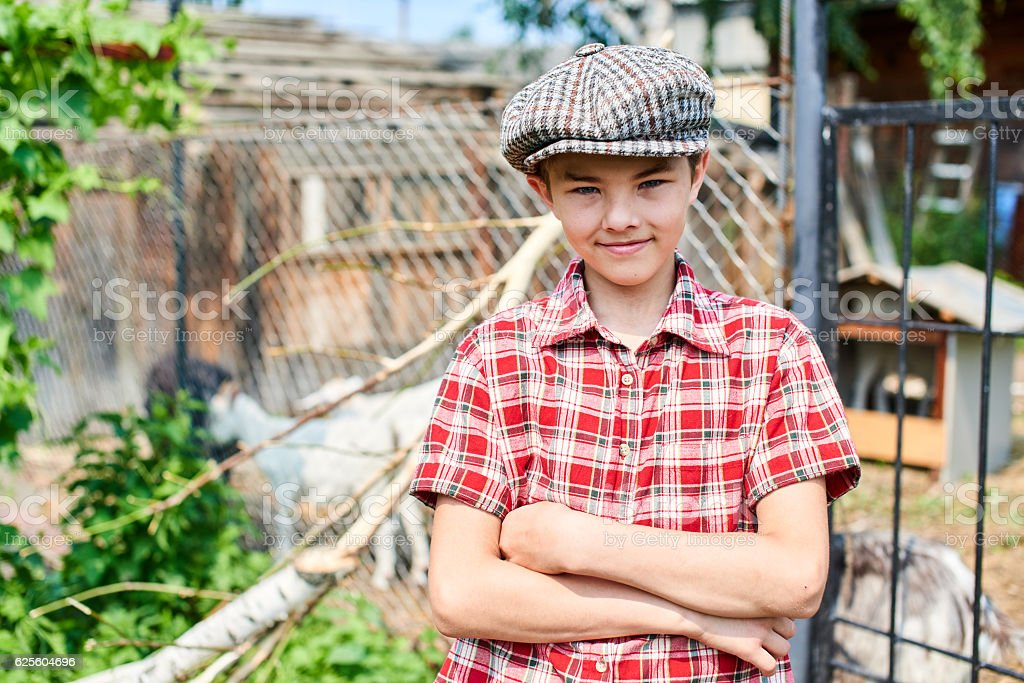 Portrait of a boy in the village stock photo