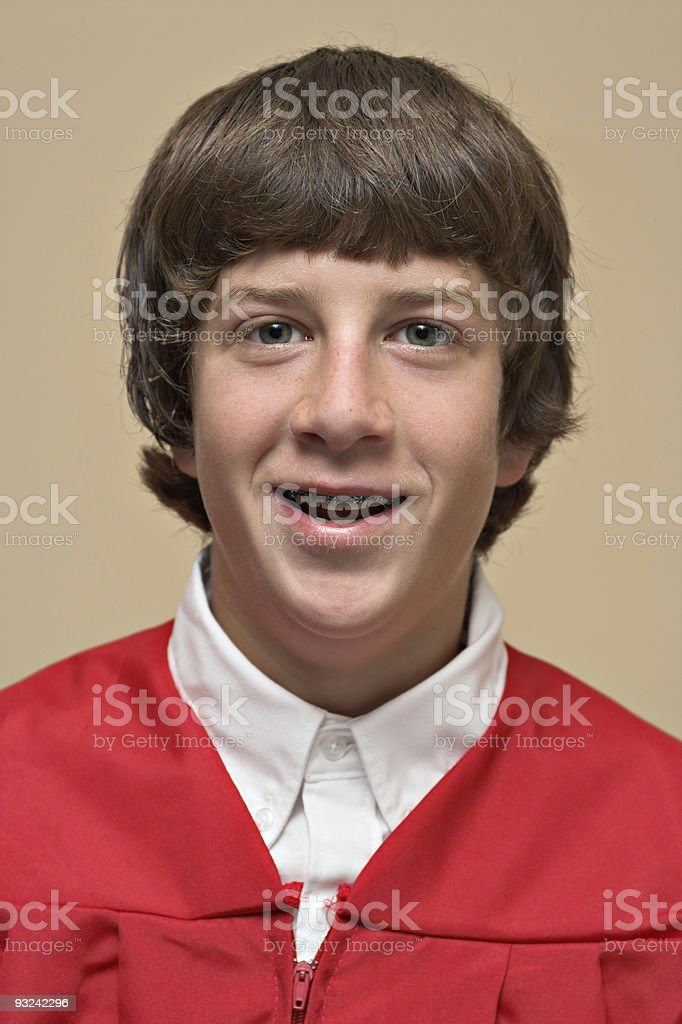 Portrait of a Boy Making Confirmation royalty-free stock photo