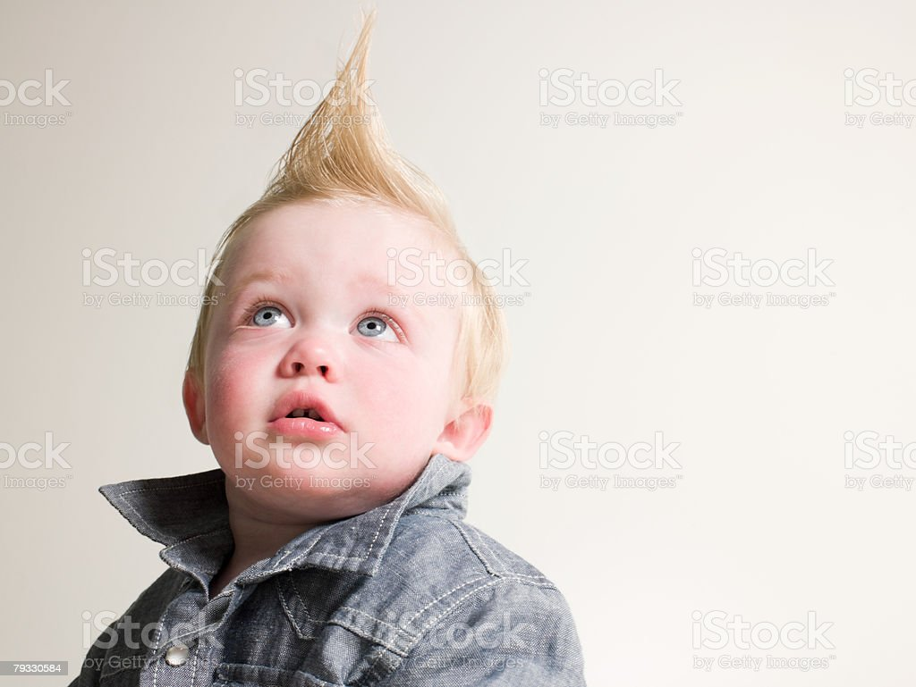 Portrait of a boy with a quiff stock photo