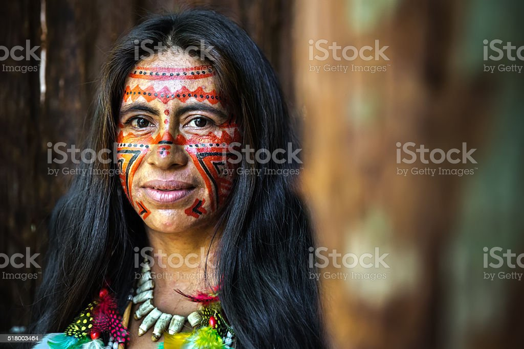 Portrait of a Brazilian Indian in Amazon, Brazil stock photo
