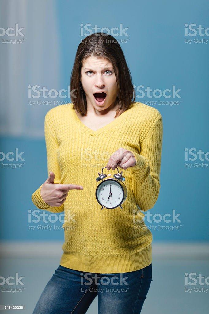 Portrait Of A Brunette At Seven O'clock stock photo