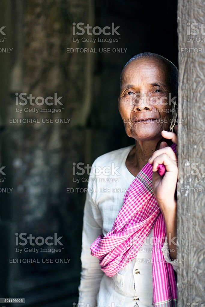 Portrait of a Buddhist Nun at Angkor stock photo