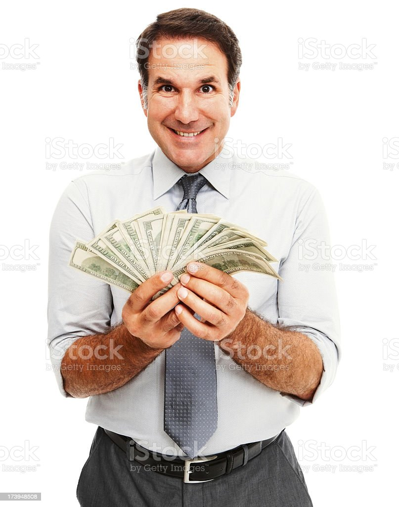 Portrait of a businessman holding cash and smiling royalty-free stock photo