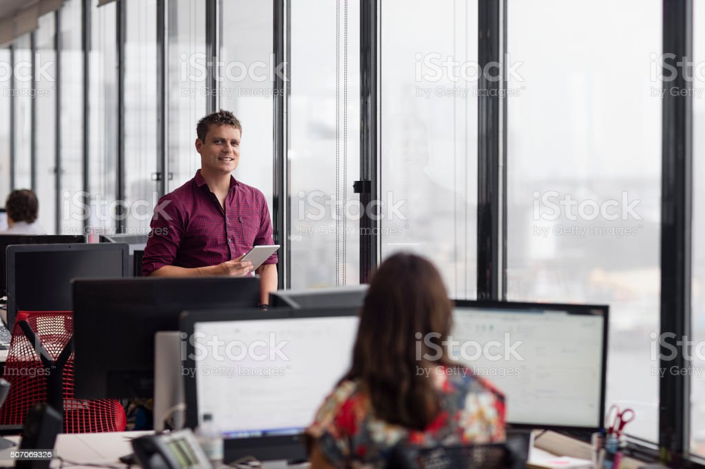 Portrait of a businessman in the office stock photo