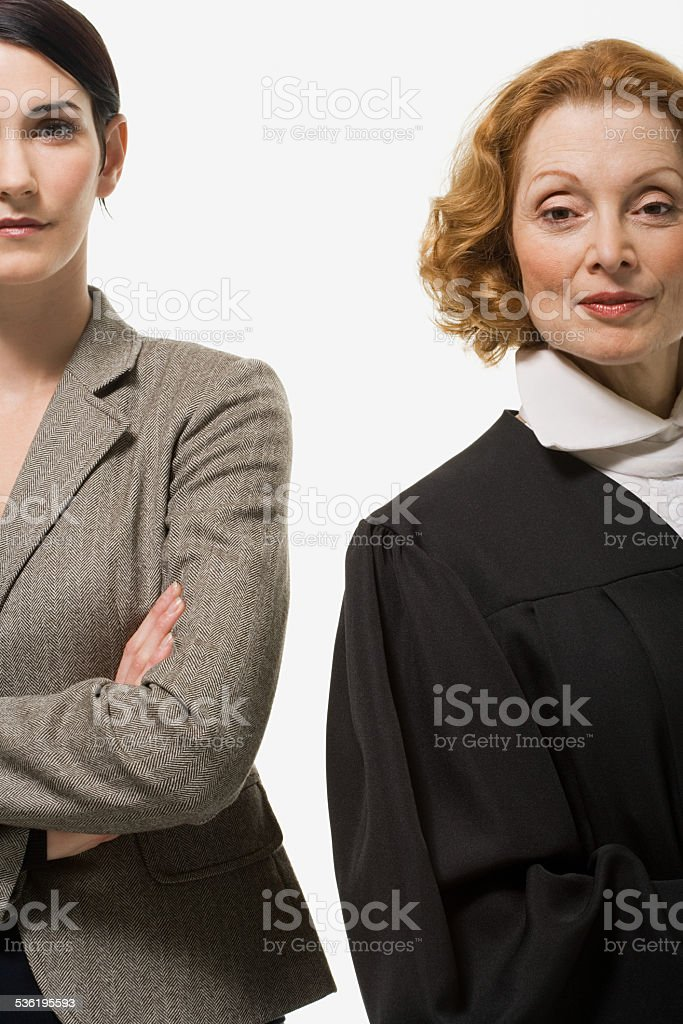 Portrait of a businesswoman and a judge stock photo