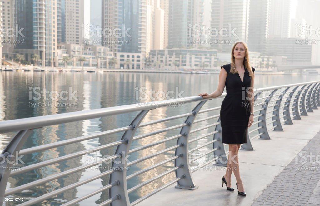 portrait of a businesswoman in Dubai Marina stock photo