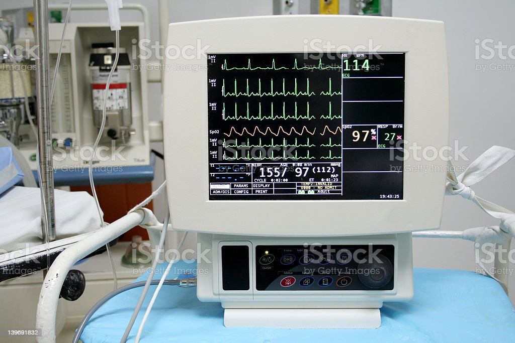 Portrait of a cardio monitor with lines and numbers royalty-free stock photo