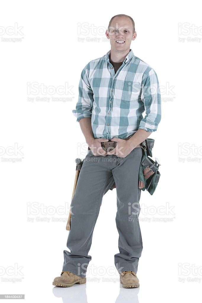 Portrait of a carpenter smiling royalty-free stock photo
