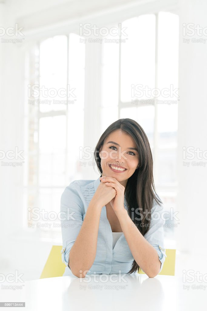 Portrait of a casual Latin woman stock photo