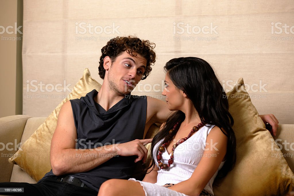 Portrait Of A Caucasian Man Flirting With Beautiful Woman stock photo
