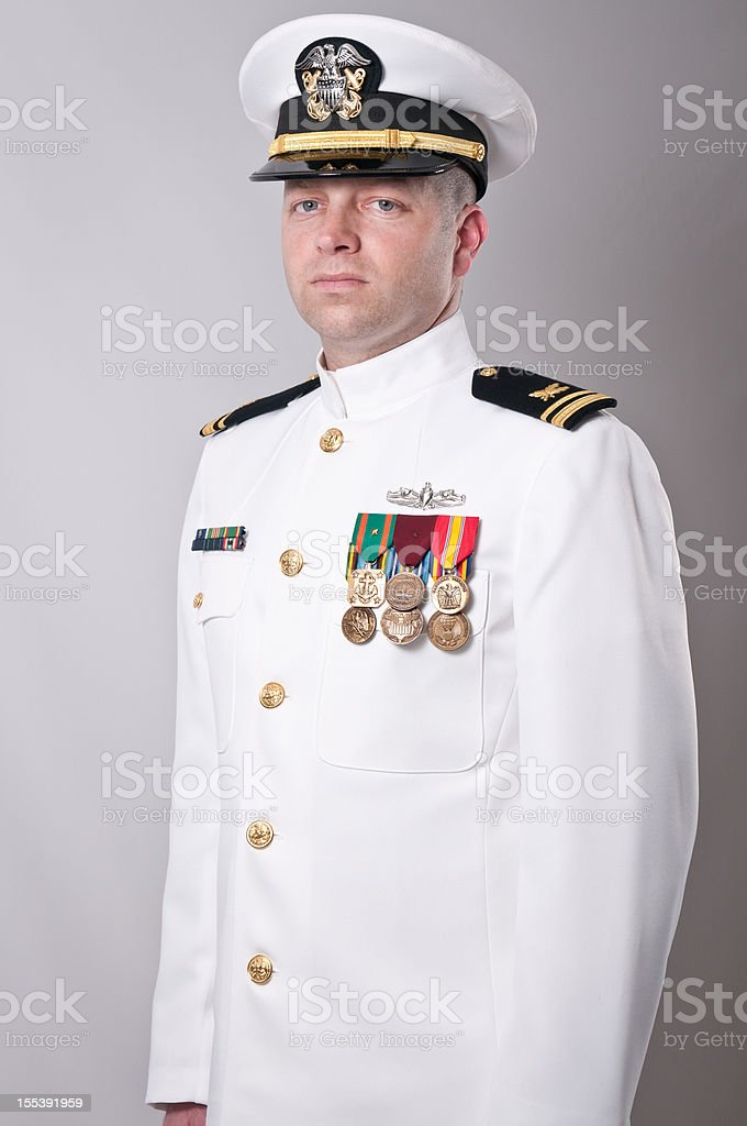 Portrait of  a Caucasian Naval Officer in Dress Whites stock photo