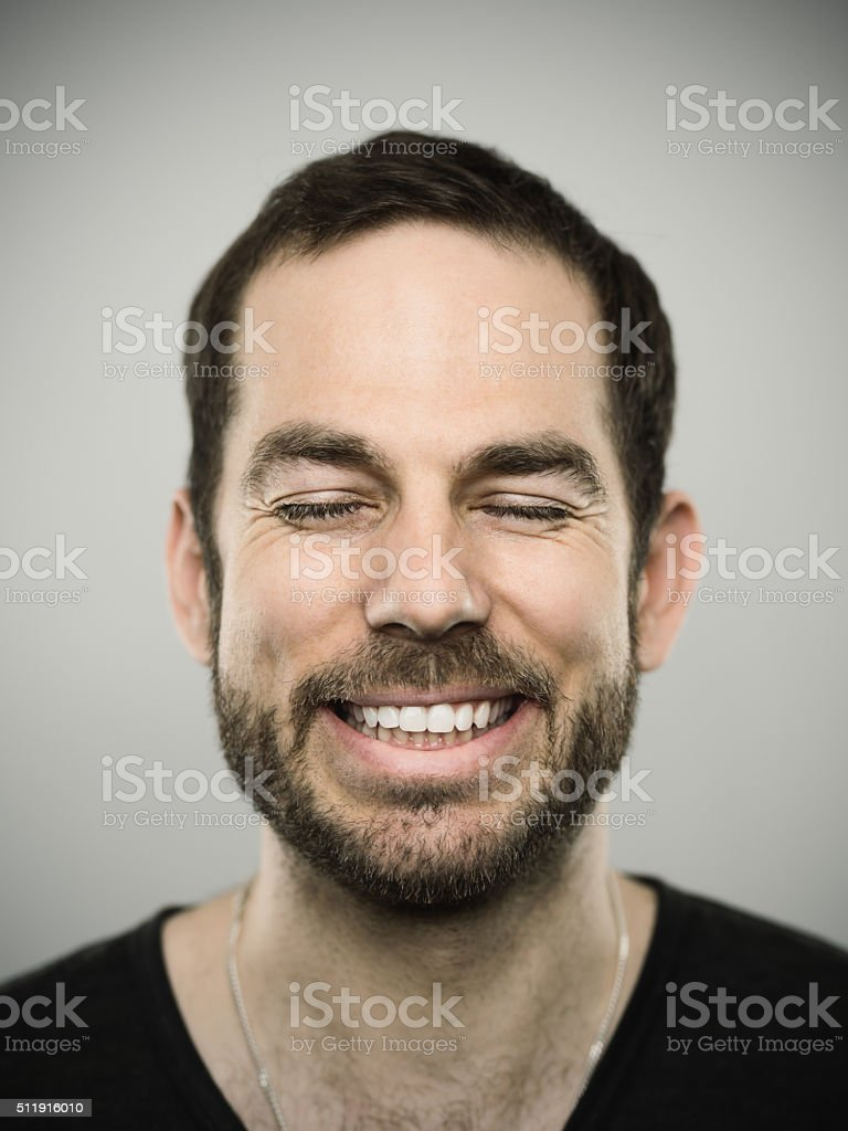 Portrait of a caucasian real man stock photo