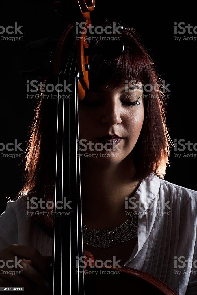 Portrait of a cello musician stock photo