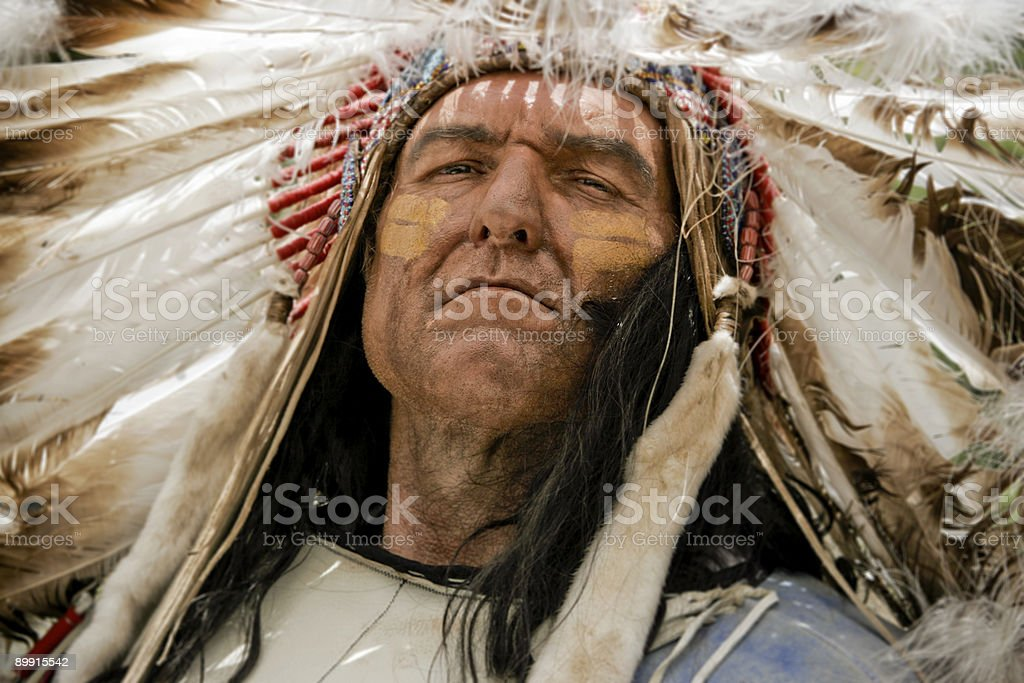 A portrait of a charismatic Native American chief stock photo